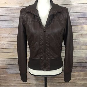Xhilaration Brown Faux Leather Cropped ZIP Jacket